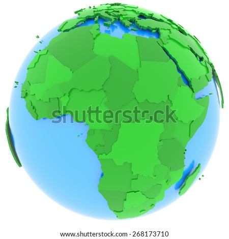 Political map of Africa with countries in different shades of green, isolated on white background.  - stock photo