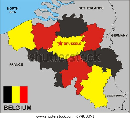 political map of belgium country with flag