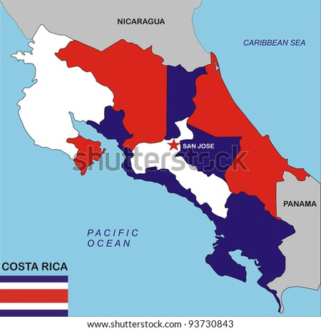 political map of Costa Rica country with flag illustration