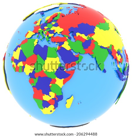 Political map of Eastern Hemisphere with countries in four colours, isolated on white background.