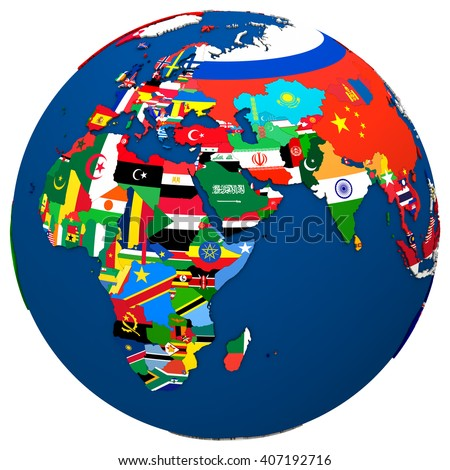 Political Map Europe Africa Middle East Stock Illustration 407192716