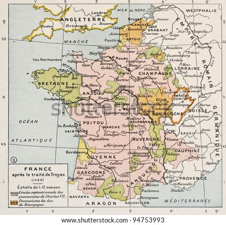 Political map of France in 1420. By Paul Vidal de Lablache, Atlas Classique, Librerie Colin, Paris, 1894 - stock photo
