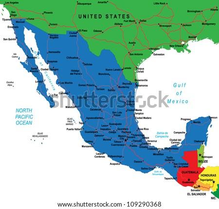 Political map of Mexico - stock photo
