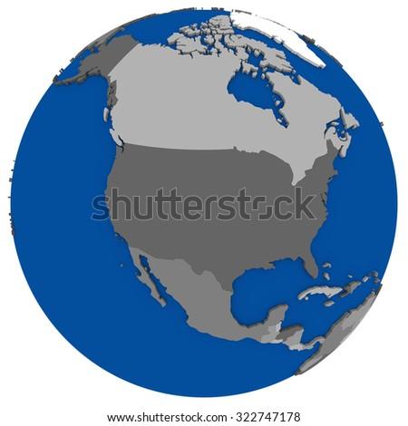 Political Map North America On Globe Stock Illustration 319345955