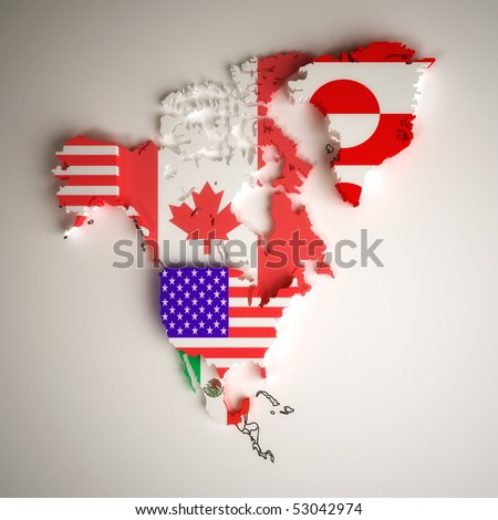 political map of north america with country territories in national flag - stock photo