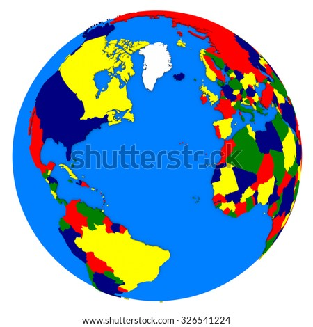 Political map of northern hemisphere on planet Earth isolated on white background.