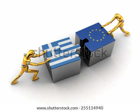 Political or financial concept of Greece struggling and finding a solution with the European union. - stock photo