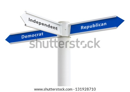 Political Parties Democrat Republican Independent on crossroads sign isolated on white background - stock photo