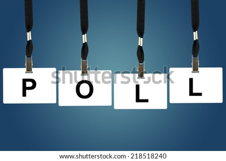 political poll word on badge with blue background - stock photo