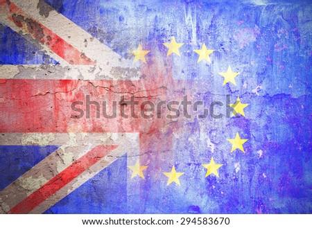political relations European Union Great Britain flag grunge vintage retro style - stock photo