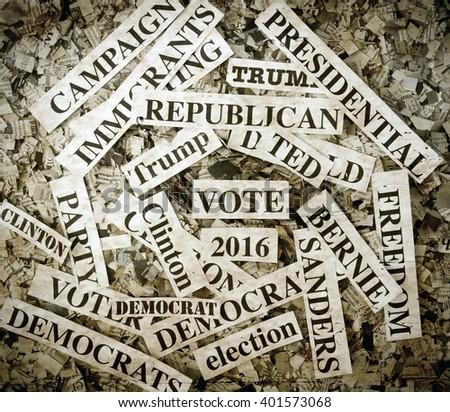 political words on Newspaper confetti - stock photo