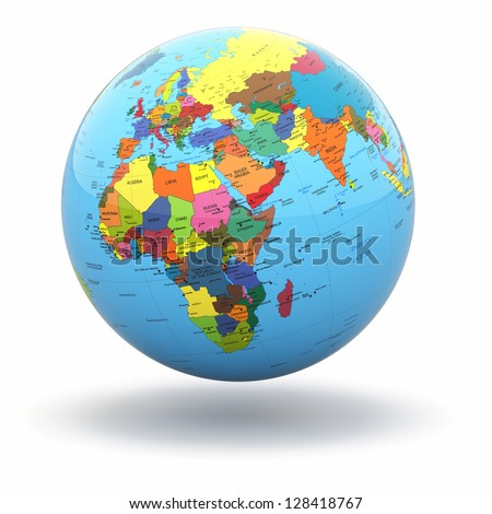 Globe map stock images royalty free images vectors shutterstock political world globe on white isolated background 3d gumiabroncs Images