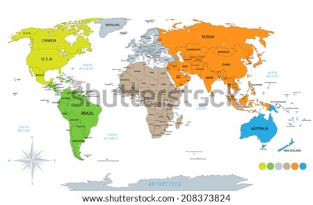 Political world map on white background, with every state labeled. Colored by continents.  - stock photo