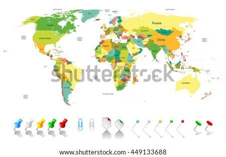 Political world map with infographic elements for your designs - stock photo