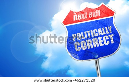 politically correct, 3D rendering, blue street sign
