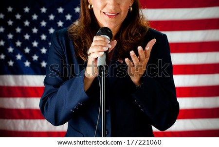 Politician: Anonymous Female Giving Speech - stock photo