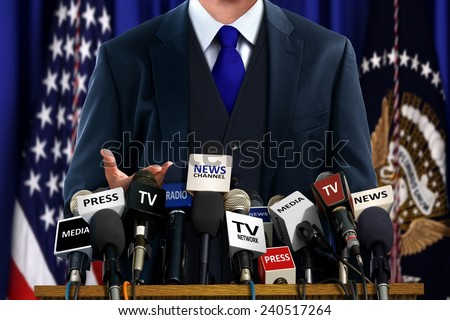 Politician at Press Conference - stock photo