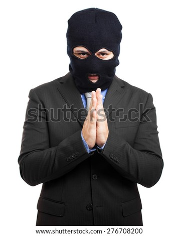 Politician dressed as a thief - stock photo