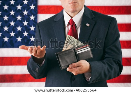 Politician: Man Gesturing With Confusion And Holding Cash Full Wallet - stock photo