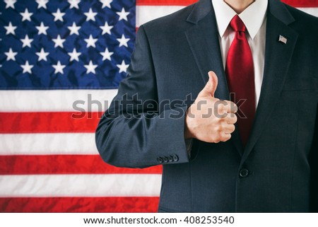 Politician: Man Gives A Successful Thumbs Up - stock photo