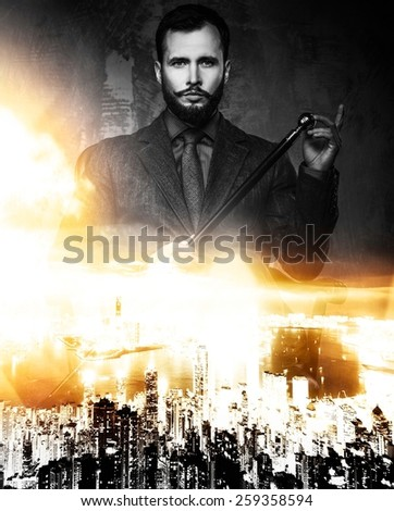 Politician over modern megapolis double exposure  - stock photo