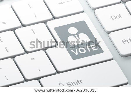 Politics concept: Ballot on computer keyboard background