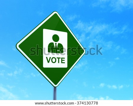 Politics concept: Ballot on road sign background - stock photo