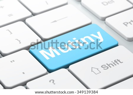 Politics concept: computer keyboard with word Mutiny, selected focus on enter button background, 3d render - stock photo