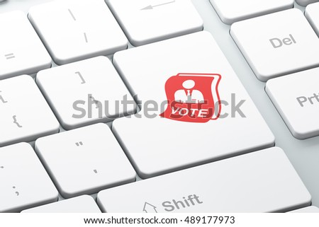 Politics concept: Enter button with Ballot on computer keyboard background, 3D rendering