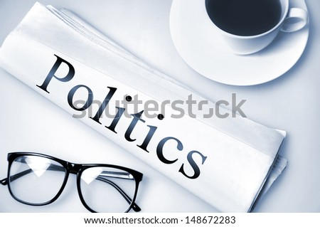 Politics word on newspaper