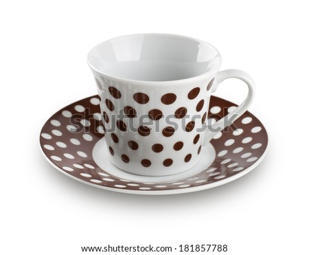 polka dot coffee cup on white background - stock photo