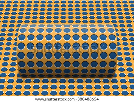 Polka dot cylinder is rolling along the inclined surface. Abstract optical illusion illustration. - stock photo