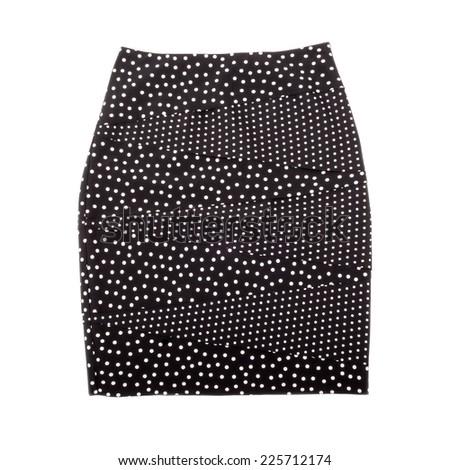 Polka Dot Pencil Skirt Isolated on White - stock photo