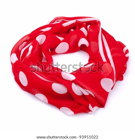 Polka dot scarf isolated on white background