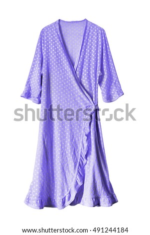 Polka dots purple dressing gown isolated over white