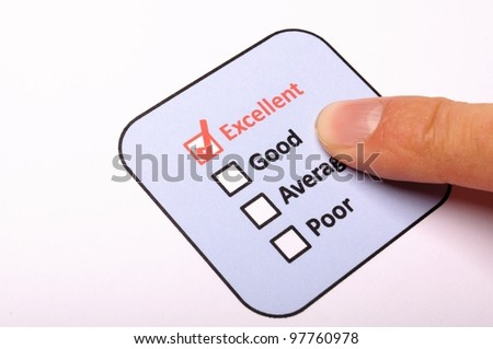 poll or polling concept with checkbox and red pencil showing marketing - stock photo