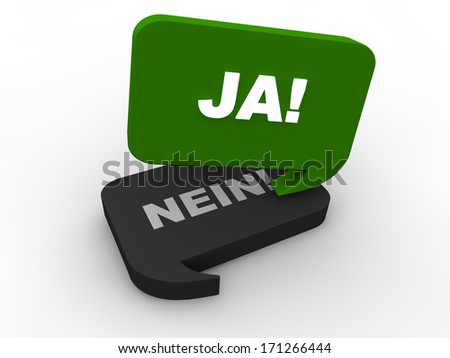 Poll Result - yes (in german) - stock photo