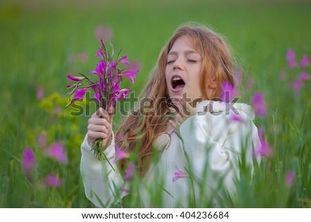 pollen allergy sneeze in field - stock photo