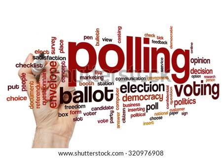 Polling word cloud - stock photo