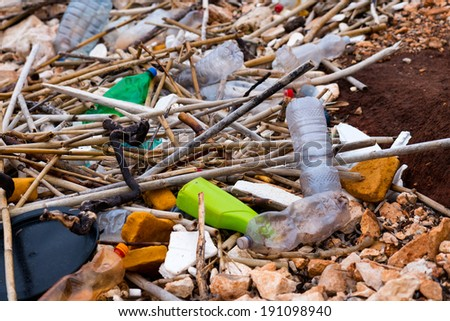 polluted beach close up - stock photo