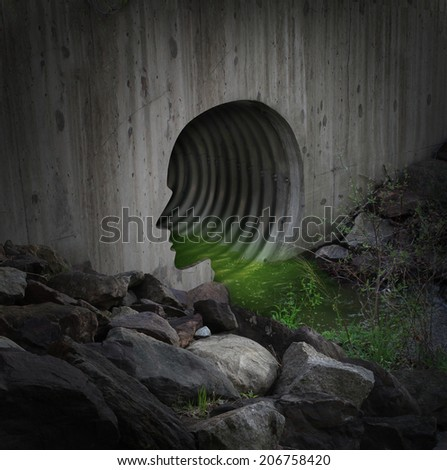 Polluted community and contaminated water concept as a city tube shaped as a human head releasing toxic substances in the environment as a symbol for industrial waste dump and environmental dangers. - stock photo