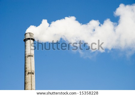 Polluting smoke coming out of chimney