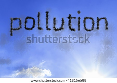 Pollution cloud word with a blue sky - stock photo