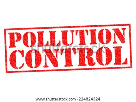 POLLUTION CONTROL red Rubber Stamp over a white background. - stock photo