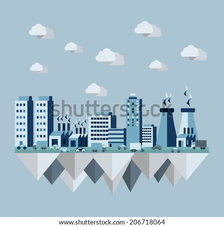 Pollution environment cityscape concept illustration in flat style design elements