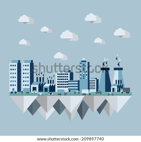 Pollution environment cityscape concept illustration in flat style design elements. - stock photo