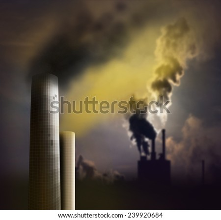 Pollution from chimney with smoke