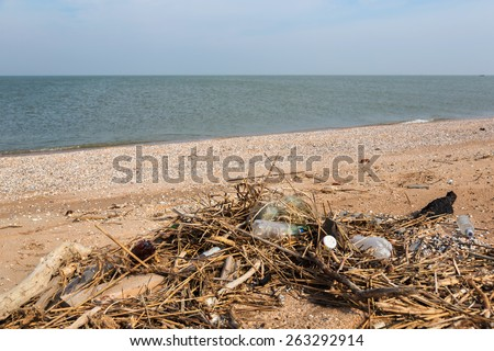 Pollution: garbages, plastic, and wastes on the beach after winter storms. Azov sea. dolganka - stock photo