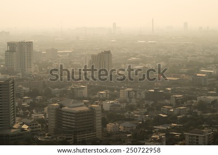pollution in the city - stock photo