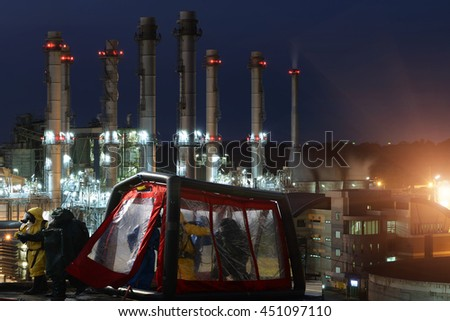 pollution industry concept : chemical spill hazards in pollution form industry. - stock photo